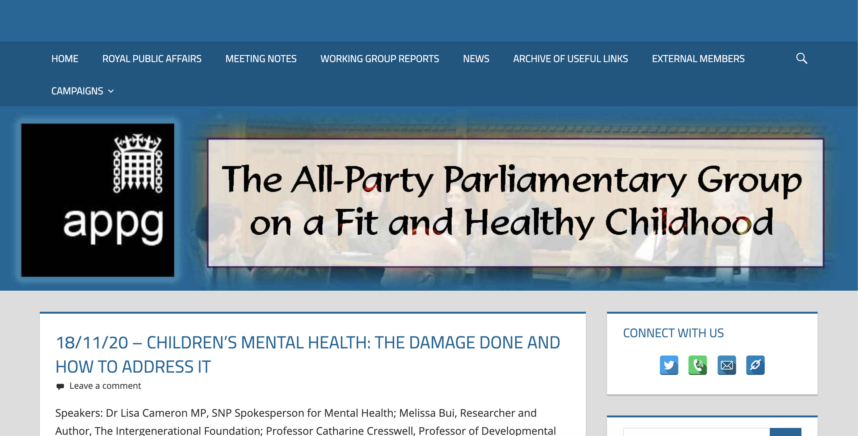 logo of the all-party parliament group on a fit and healthy childhood